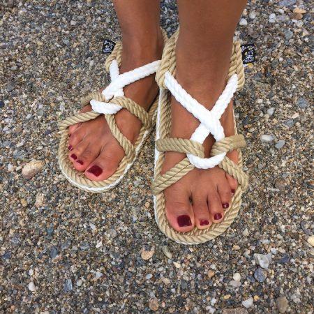 sandales nomadic state of mind, modele Mountain Momma Beige&Blanc , sandale en corde