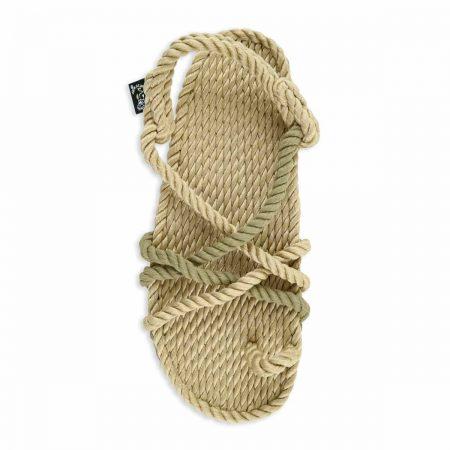 Sandales nomadic, sandale vegan, fait à partir de corde récyclé, modèle toe joe beige kaki avocado
