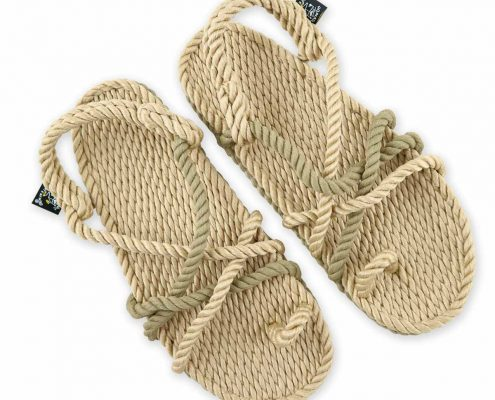 Sandales nomadic state of mind, sandale en corde, modèle toe joe couleur beige et kaki avocado