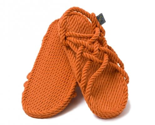 Sandales nomadic, sandale vegan, fait à partir de corde récyclé, modèle jc pumpkin