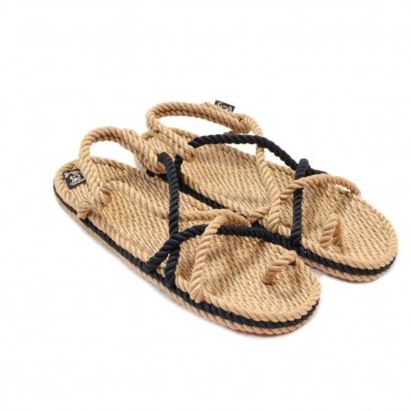 Sandales nomadic state of mind, sandale en corde, modèle toe joe couleur beige et navy bleu