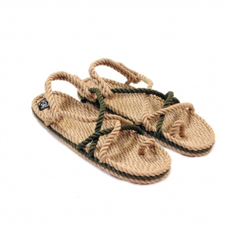 Sandales nomadic state of mind, sandale en corde, modèle toe joe couleur beige kaki et sage green