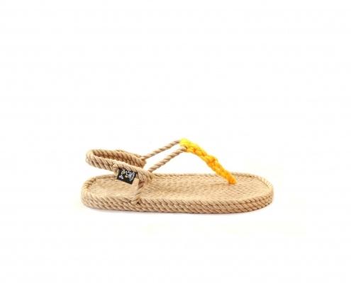 Sandales nomadic, sandale vegan, fait à partir de corde récyclé, modèle Athena beige et jaune