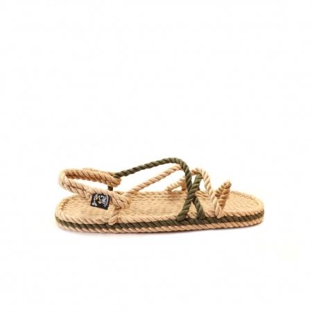 Sandales nomadic, sandale vegan, fait à partir de corde récyclé, modèle toe joe beige kaki et sage green