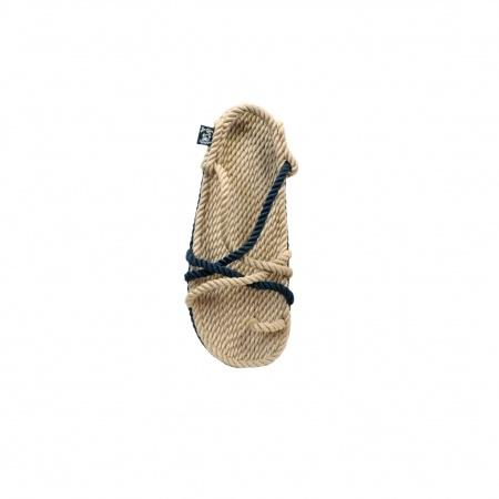 Sandales nomadic, sandale vegan, fait à partir de corde récyclé, modèle toe joe beige et navy bleu