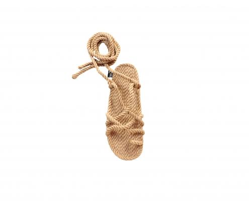 Sandales nomadic, sandale vegan, fait à partir de corde récyclé, modèle isla beige