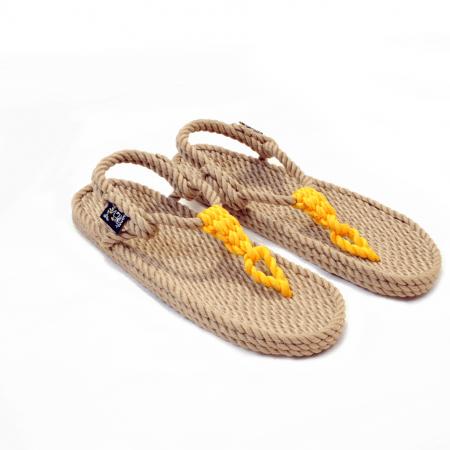 Sandales nomadic state of mind, sandale en corde, modèle Athena couleur beige et jaune