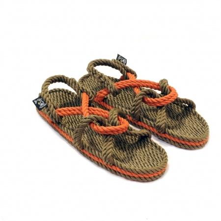 Sandales nomadic state of mind, sandale en corde, modèle Mountain momma couleur sage green et pumpkin