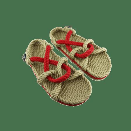Sandales nomadic state of mind, sandale en corde, modèle mountain momma couleur beige et rouge