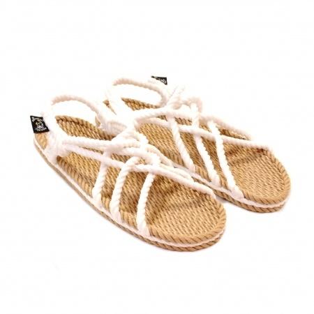Sandales nomadic state of mind, sandale en corde, modèle jc couleur beige et blanc