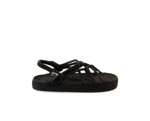 sandali nomadic state of mind, zeppa nera modello JC, sandalo in corda