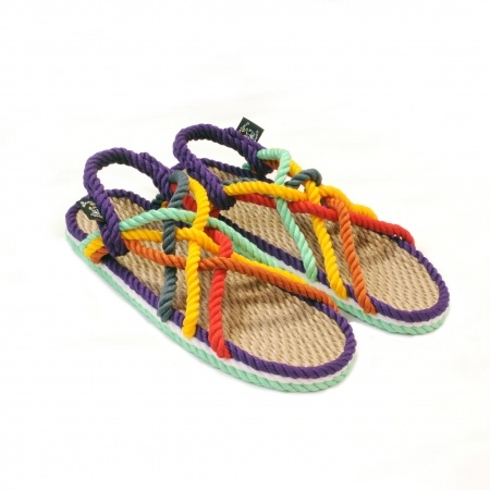 Sandales nomadic state of mind, sandale en corde, modèle jc couleur neon rainbow