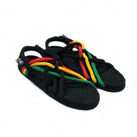 Sandales nomadic state of mind, sandale en corde, modèle jc couleur rasta